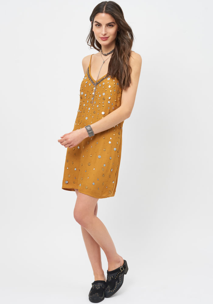 Vestido Fiesta Bordado Monedas Amarillo Indio